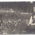 PRETTY LADY, FIELD OF DAISIES, VINTAGE Unused PHOTO POSTCARD   4