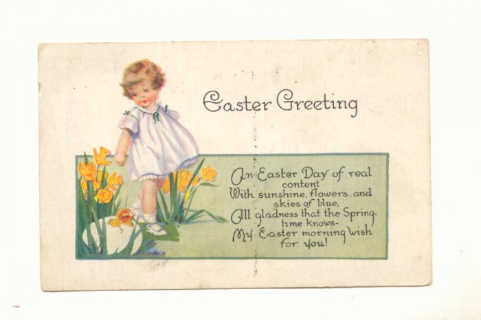 EASTER GREETING, YOUNG GIRL, EGG, CHICK VERSE Vintage Unused POSTCARD 17