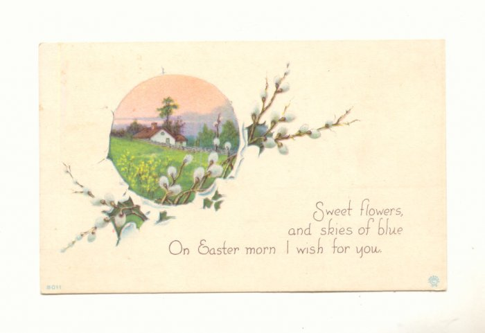 ON EASTER MORN, PUSSYWILLOW COUNTRY SCENE Vintage 1920 POSTCARD  18