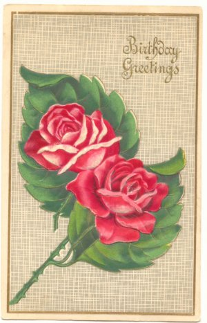 BIRTHDAY GREETINGS, TWO RED ROSES VINTAGE POSTCARD 39