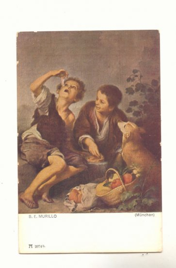B.E. MURILLO, CHILDREN AT PICINIC, DOG VINTAGE POSTCARD  44