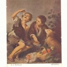 B.E. MURILLO, CHILDREN AT PICINIC, DOG VINTAGE POSTCARD  44
