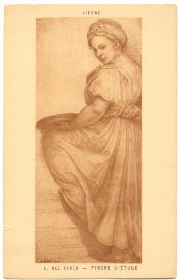 PRETTY LADY, SEPIA ETCHING, FIGURE D'ETUDE POSTCARD   46