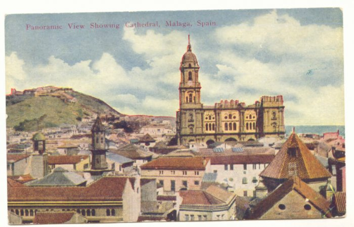 PANORAMIC VIEW, CATHEDRAL, MALAGA, SPAIN Vintage POSTCARD    52
