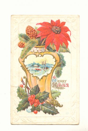 PINE CONES POINSETTIA HOLLY CHRISTMAS Vintage POSTCARD 1916   67