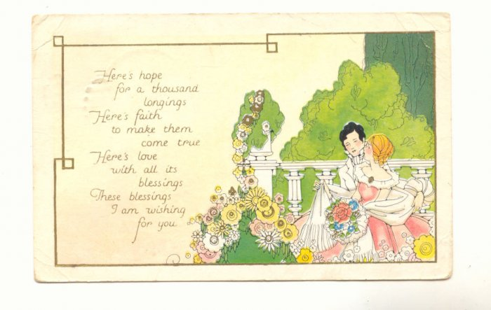 BLESSINGS FOR YOU, COLONIAL COUPLE IN GARDEN  Vintage POSTCARD   72