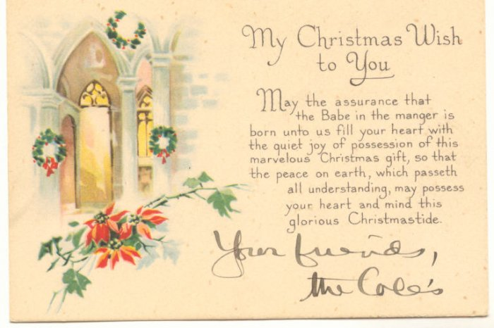 CHRISTMAS WISH, WREATHS, VINTAGE CALLING CARD   86