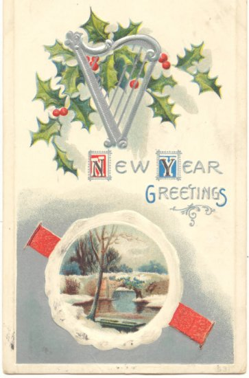 NEW YEAR GREETING, HOLLY, HARP, SCENE VINTAGE POSTCARD  87