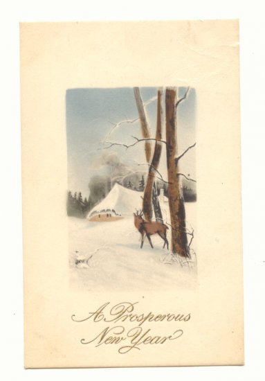 PROSPEROUS NEW YEAR, DEER WINTER SCENE VINTAGE POSTCARD   88
