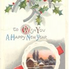 NEW YEAR, HORSESHOES, WINTER SCENE VINTAGE POSTCARD  92