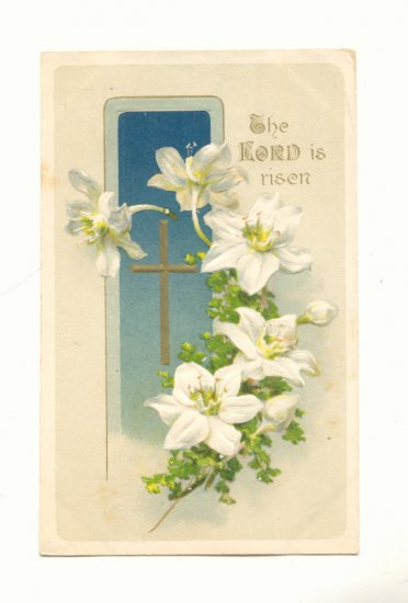 THE LORD IS RISEN, LILY, VINTAGE EASTER POSTCARD   114