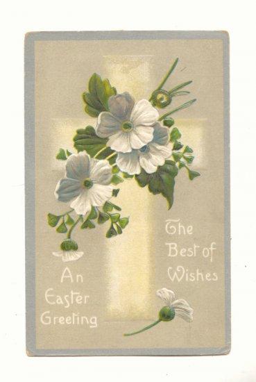 EASTER GREETINGS, CROSS, FLOWERS VINTAGE POSTCARD  117