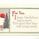 1915 NEW YEAR VINTAGE MOTTO POSTCARD, FULL MOON  120