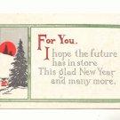 1915 NEW YEAR VINTAGE MOTTO POSTCARD, FULL MOON  120