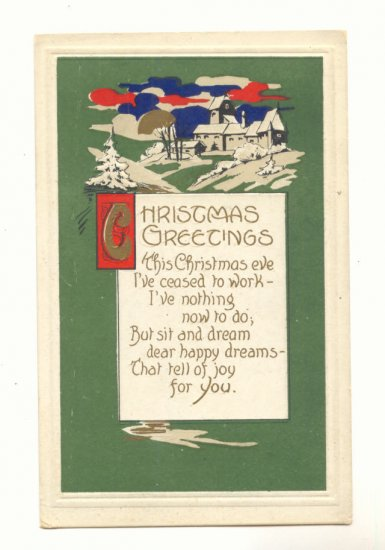 CHRISTMAS GREETING, VERSE, VIBRANT COLOR SCENE POSTCARD   121