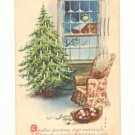 JOYOUS CHRISTMAS FIR TREE, CHAIR VERSE VINTAGE POSTCARD   124