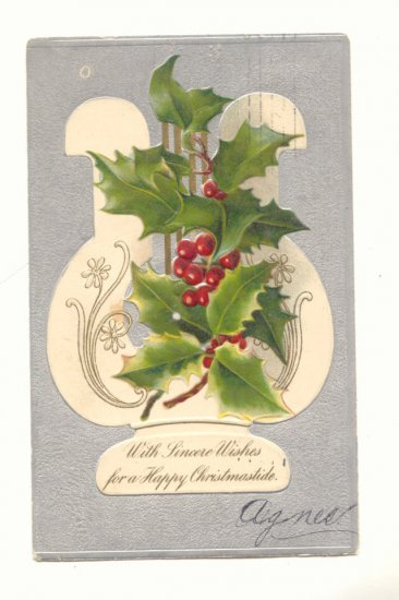 HAPPY CHRISTMASTIDE, VINTAGE 1905 POSTCARD, HOLLY, HARP   131