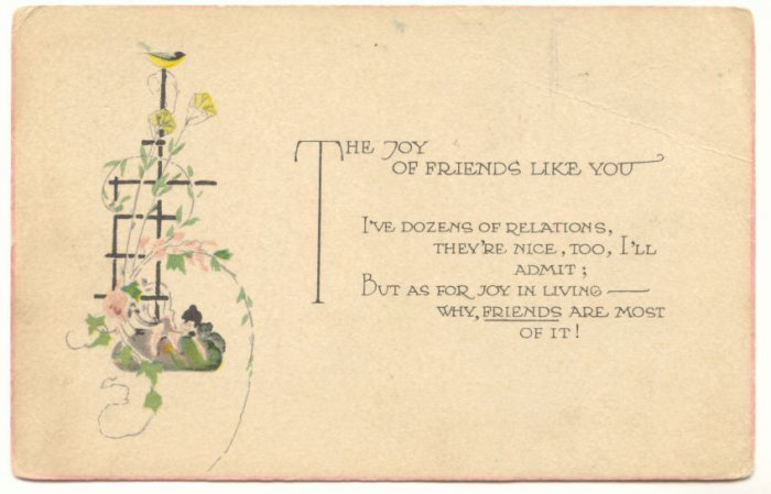 JOY OF FRIENDS LIKE YOU, BIRD TRELLIS FLOWERS POSTCARD   139