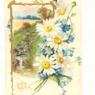 VINTAGE TUCKS BIRTHDAY POSTCARD, DAISIES, WATERFALL   #155