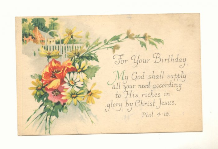 FOR YOUR BIRTHDAY, FLOWERS, VERSE VINTAGE POSTCARD   #162
