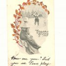 THANKSGIVING, PILGRIMS, TURKEY, VINTAGE 1909 POSTCARD  #172