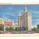 CITY HALL PARK, NEW YORK CITY, VINTAGE UNUSED POSTCARD    #175