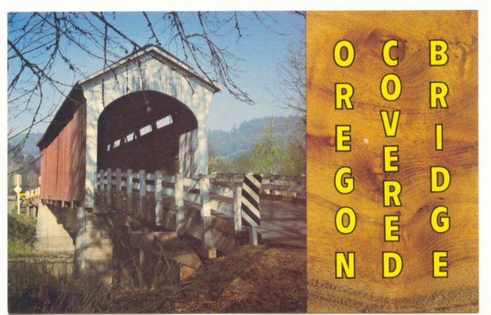 OREGON COVERED BRIDGE, VINTAGE CHROME POSTCARD    #179