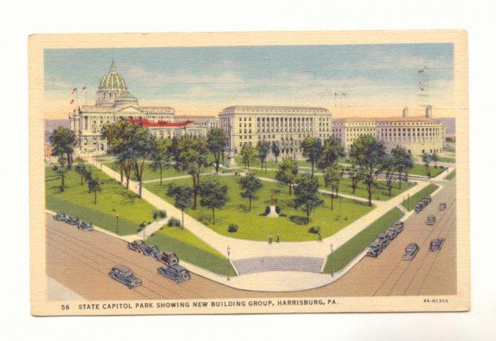 STATE CAPITOL PARK HARRISBURG PA. VINTAGE 1938 POSTCARD   #187