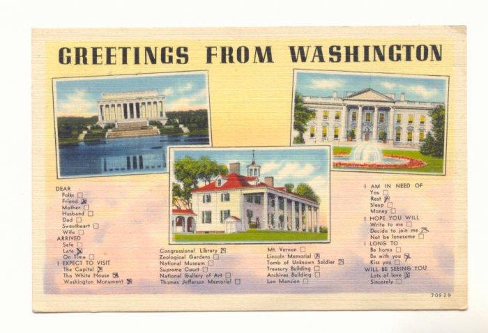GREETINGS FROM WASHINGTON, 1947 VINTAGE LINEN POSTCARD   #193