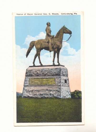 STATUE MAJOR GENERAL MEADE GETTYSBURG, PA POSTCARD   #194