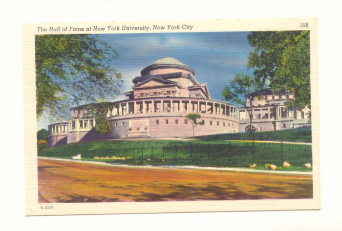 HALL OF FAME AT NEW YORK UNIVERSITY NEW YORK CITY  POSTCARD #198