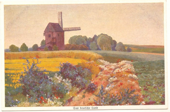 WINDMILL, COUNTRY GARDEN, FIELD VINTAGE POSTCARD   #200