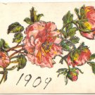 1909 GLITTERED ROSES NEW YEAR VINTAGE POSTCARD   #211