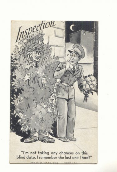 INSPECTION, SOLDIER ON BLIND DATE, VINTAGE COMIC POSTCARD #226