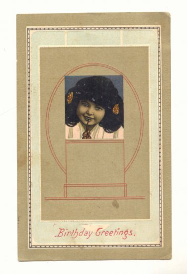 BIRTHDAY GREETING, YOUNG GIRL, VINTAGE POSTCARD   #232