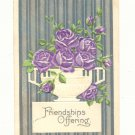FRIENDSHIPS OFFERING, URN OF PURPLE ROSES POSTCARD 1911   #233