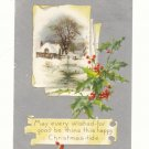 CHRISTMAS-TIDE, WINTER SCENE, HOLLY, SILVER 1911 POSTCARD #235