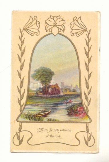 MANY HAPPY RETURNS, PRETTY POND SCENE, 1914 POSTCARD   #245