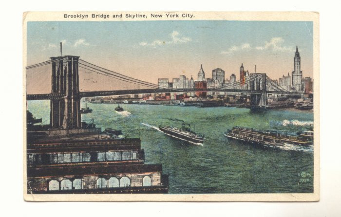 BROOKLYN BRIDGE AND SKYLINE, NEW YORK CITY 1918 POSTCARD #254