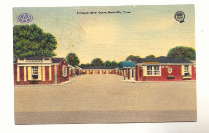 BILTMORE HOTEL COURT, NASHVILLE, TENNESSEE POSTCARD   #255