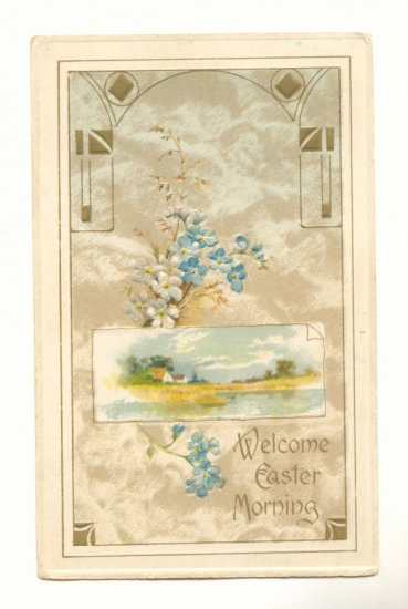 WELCOME EASTER MORNING, BEACHFRONT SCENE, FLOWERS  POSTCARD #258