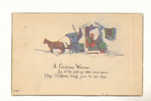 CHRISTMAS WELCOME, HORSE DRAWN COACH, VINTAGE POSTCARD   #265
