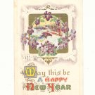 HAPPY NEW YEAR VIOLETS FRAME WINTER SCENE, 1914  POSTCARD #267