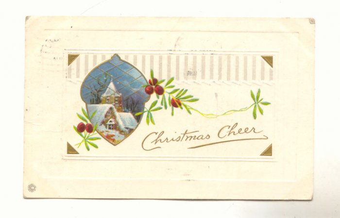CHRISTMAS CHEER, WINTER SCENE IN ACORN, VINTAGE  POSTCARD #269