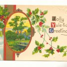 JOLLY YULETIDE GREETINGS, COUNTRY SCENE, HOLLY POSTCARD #273