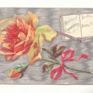 HEARTIEST CONGRATULATIONS, LARGE ROSE, SILVER POSTCARD #278
