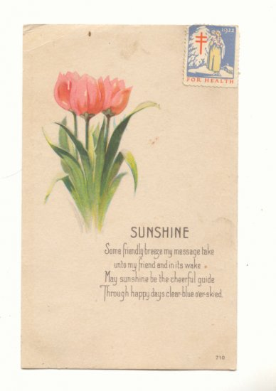 SUNSHINE, PINK TULIPS, VERSE, CHRISTMAS SEAL POSTCARD    #283