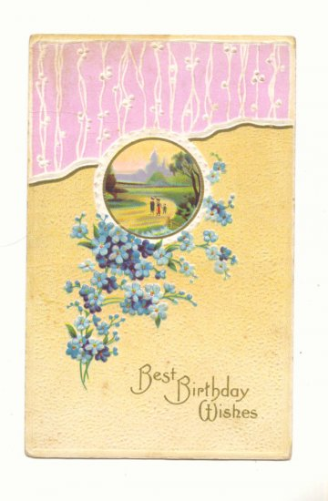 BIRTHDAY, COUNTRY SCENE, FORGET ME NOTS POSTCARD   #289