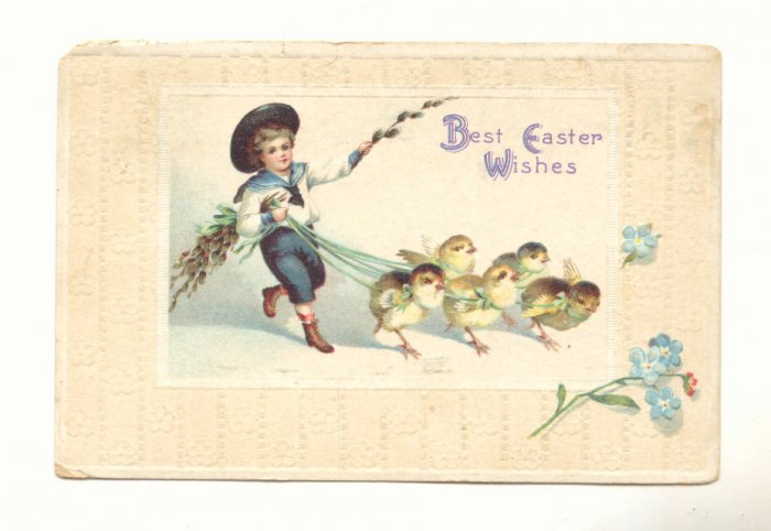 BEST EASTER WISH, BOY WALKING CHICKS, VINTAGE POSTCARD   #294