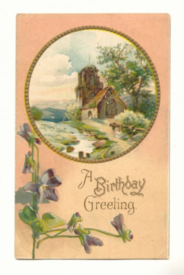BIRTHDAY GREETING, COUNTRY CHURCH SCENE PANSIES #300